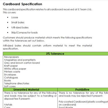 cardboard specifications 2018